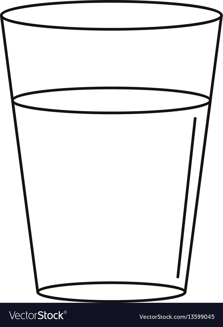 glass water icon outline style royalty free vector image