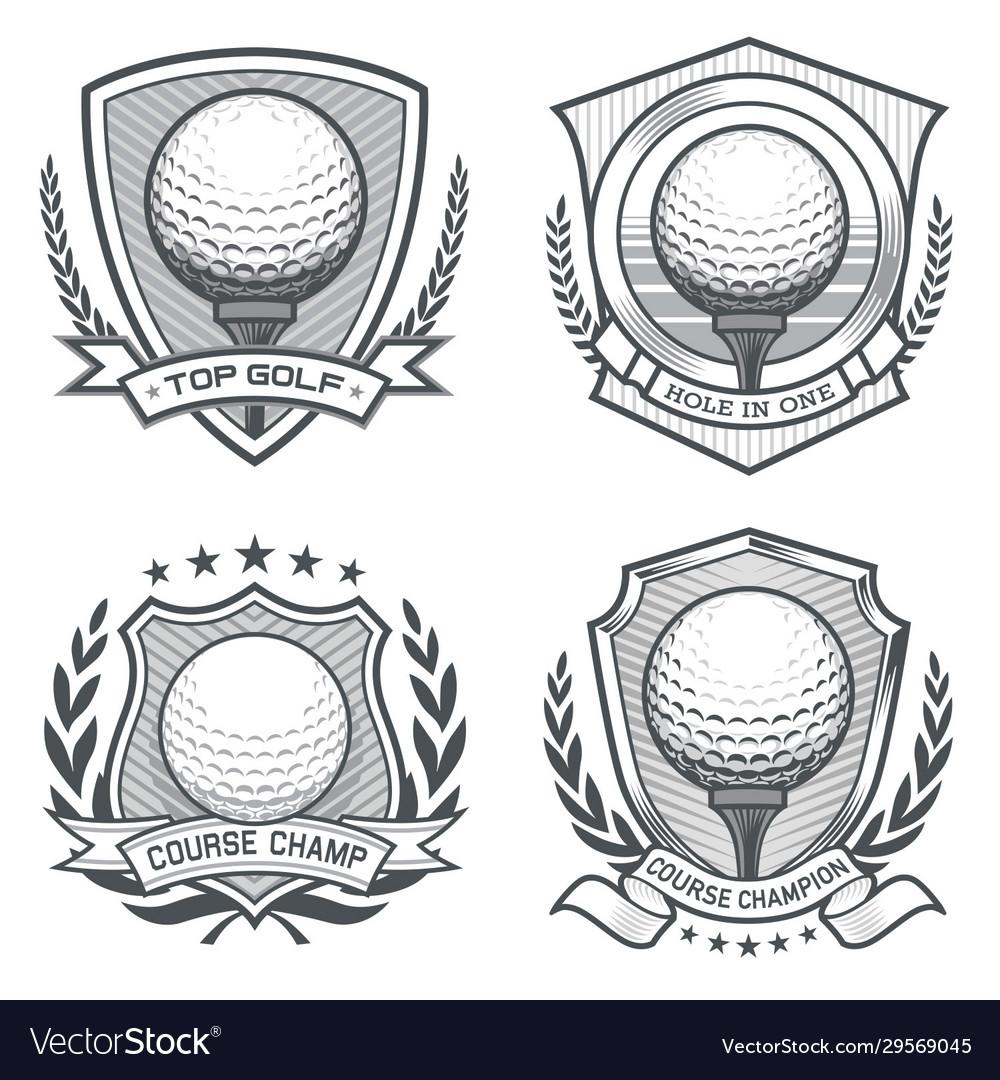 Golf ball crest emblem set