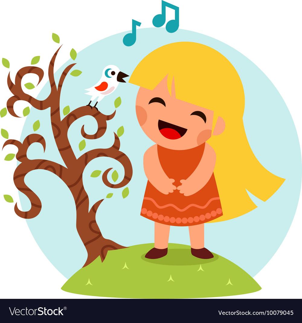 Little Happy Girl Sing Bird Tree Symbol Smiling vector image