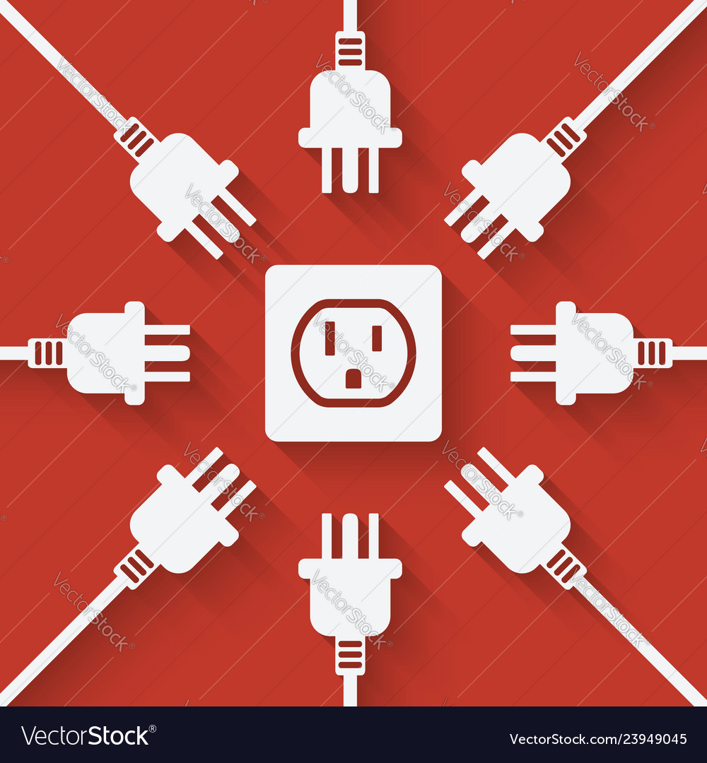 Plugs around outlet on red background