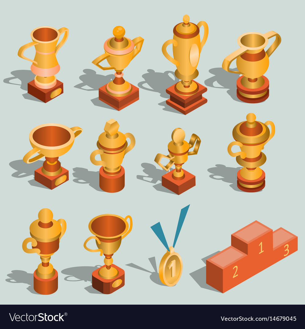 Set of isometric of gold vector image