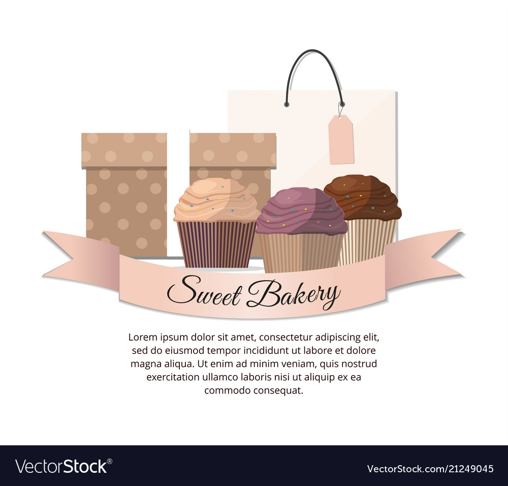 Sweet cupcakes package and gift sweet bakery