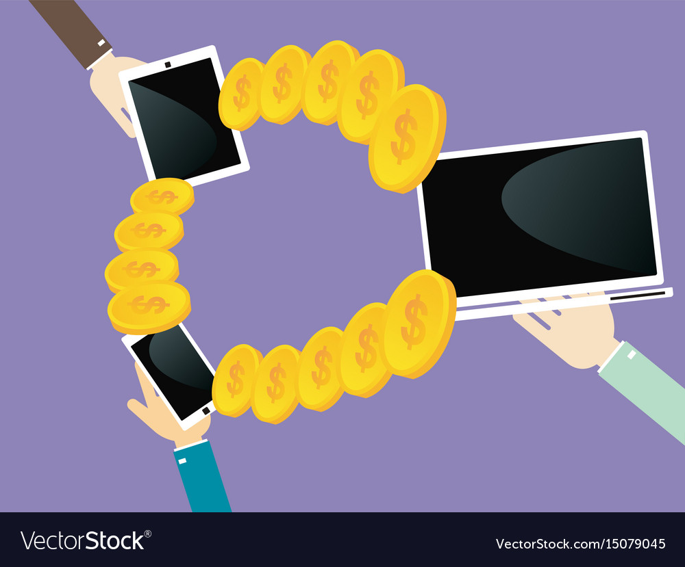 Transfer money between your laptop smartphone and vector image