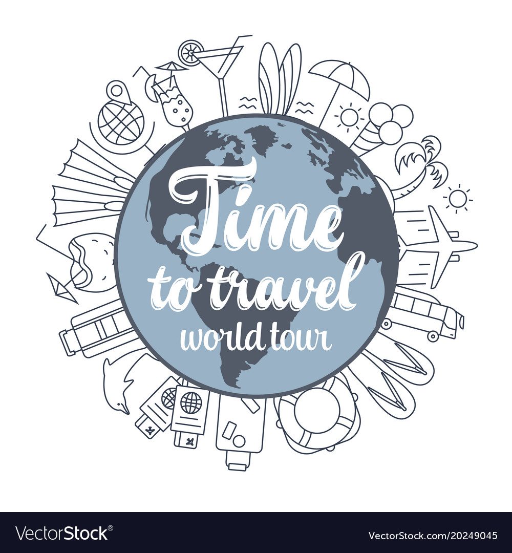 Travel concept thin line flat design