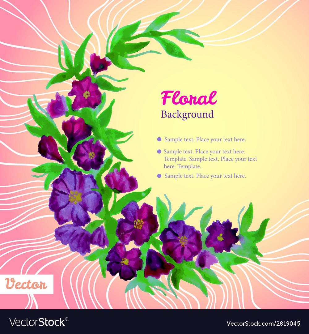 Watercolor tender wreath frame with purple flowers