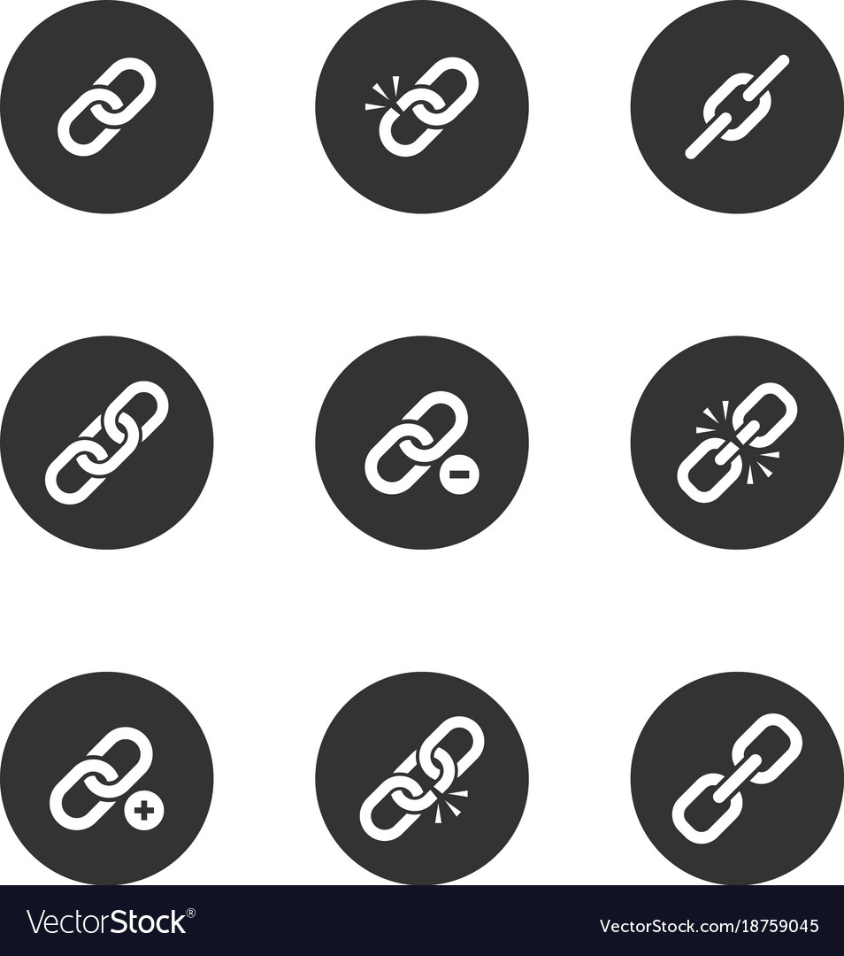 Web Link Icon Set In Black Round Frame Royalty Free Vector