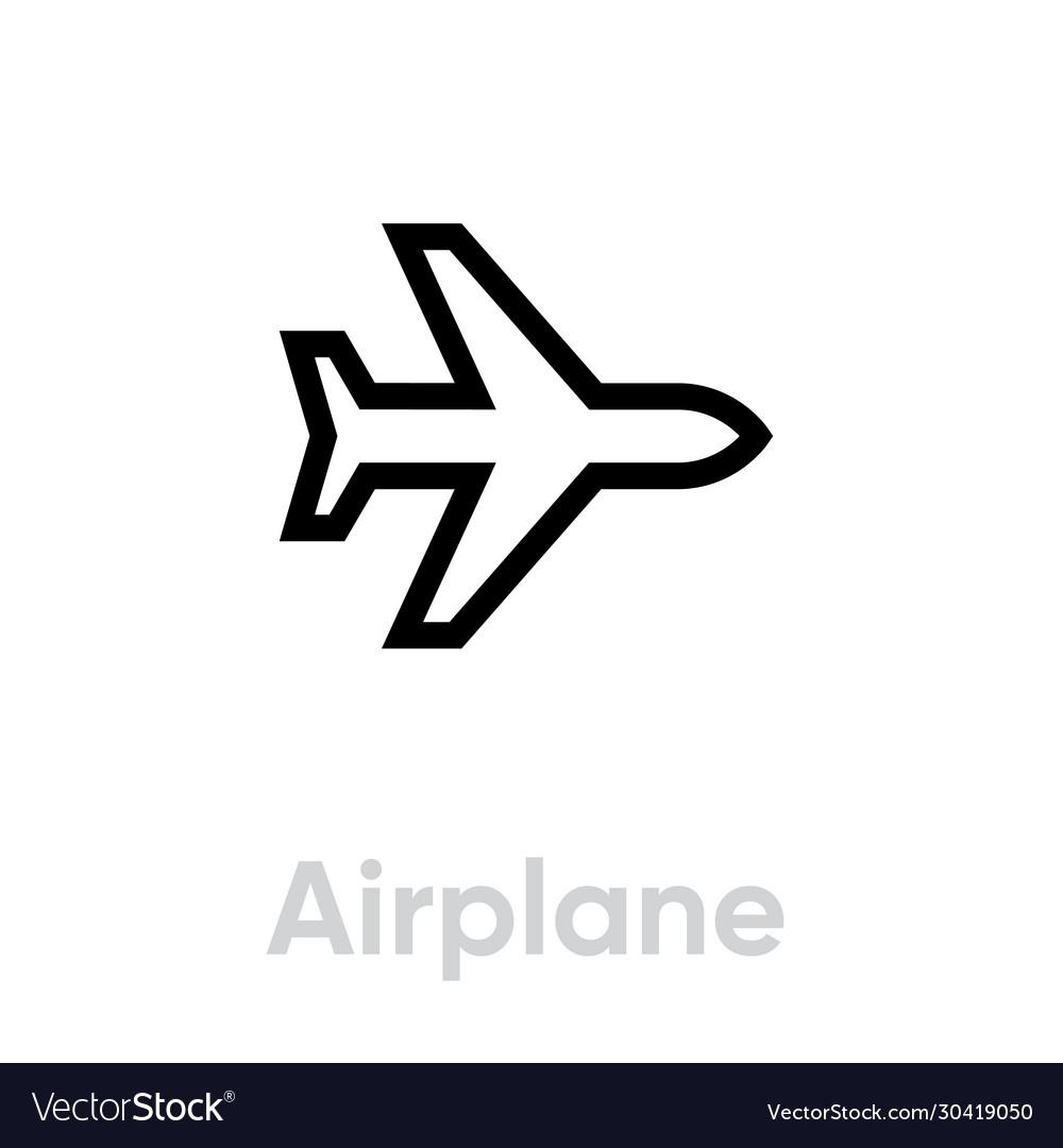 Airplane icon editable line