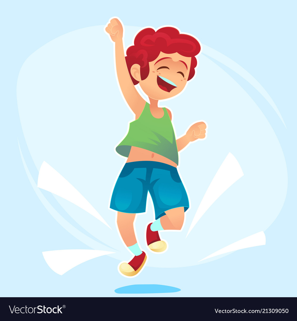 Cartoon character happy school cute boy jumping