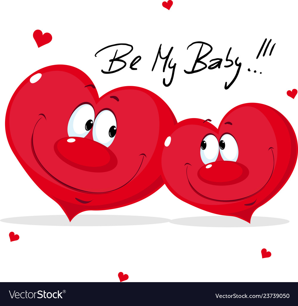 Cute Heart In Love Valentines Day Cartoon Vector Image