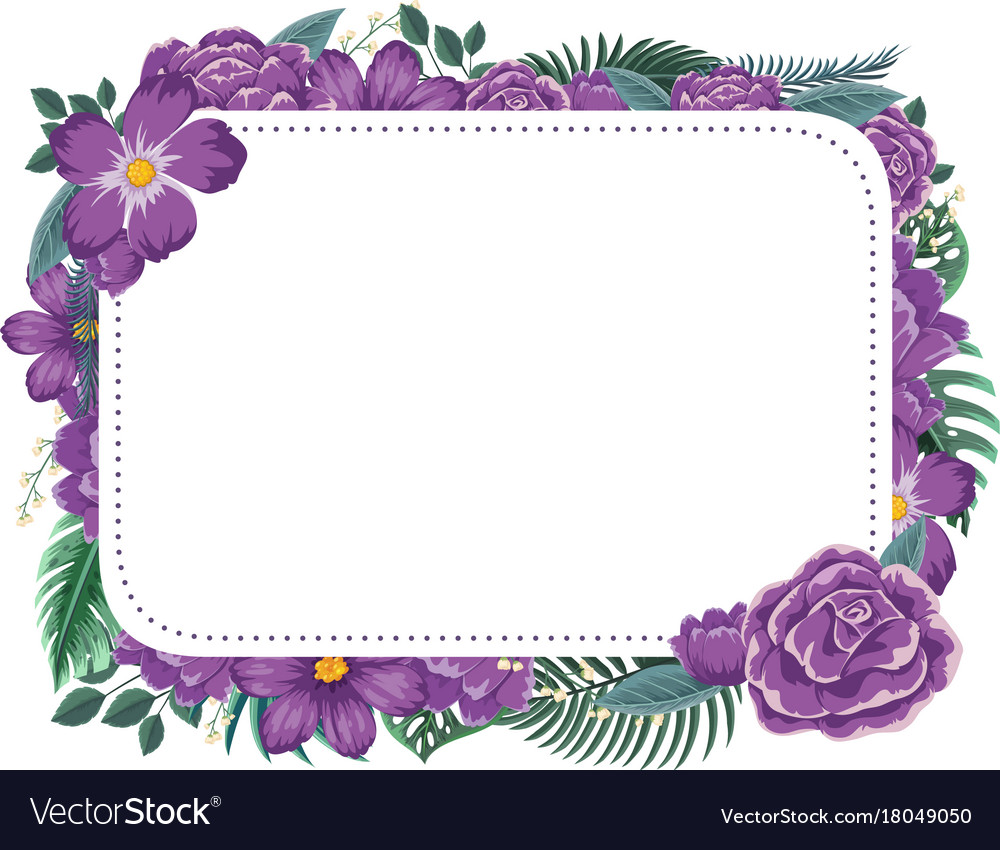 Frame design with purple flowers Royalty Free Vector Image