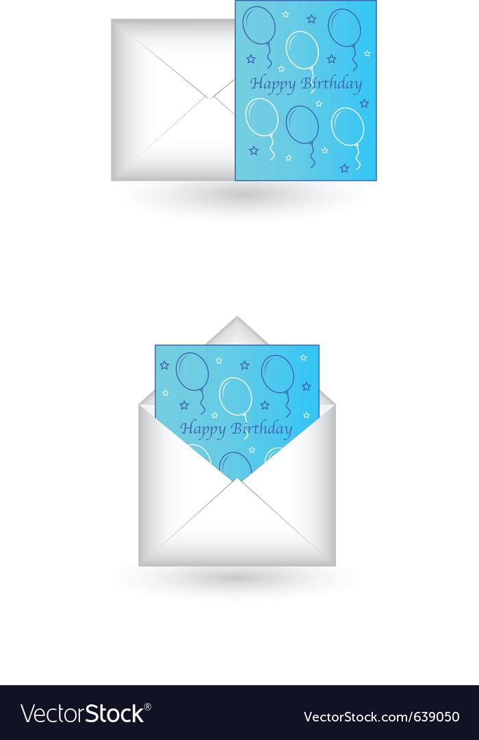 happy birthday card in envelope royalty free vector image