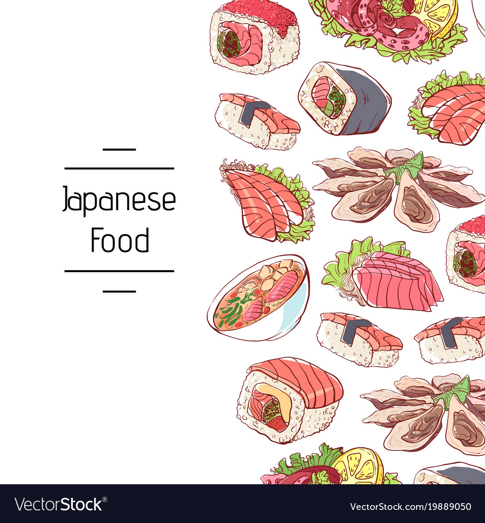 japanese food poster with asian cuisine dishes vector image. Black Bedroom Furniture Sets. Home Design Ideas