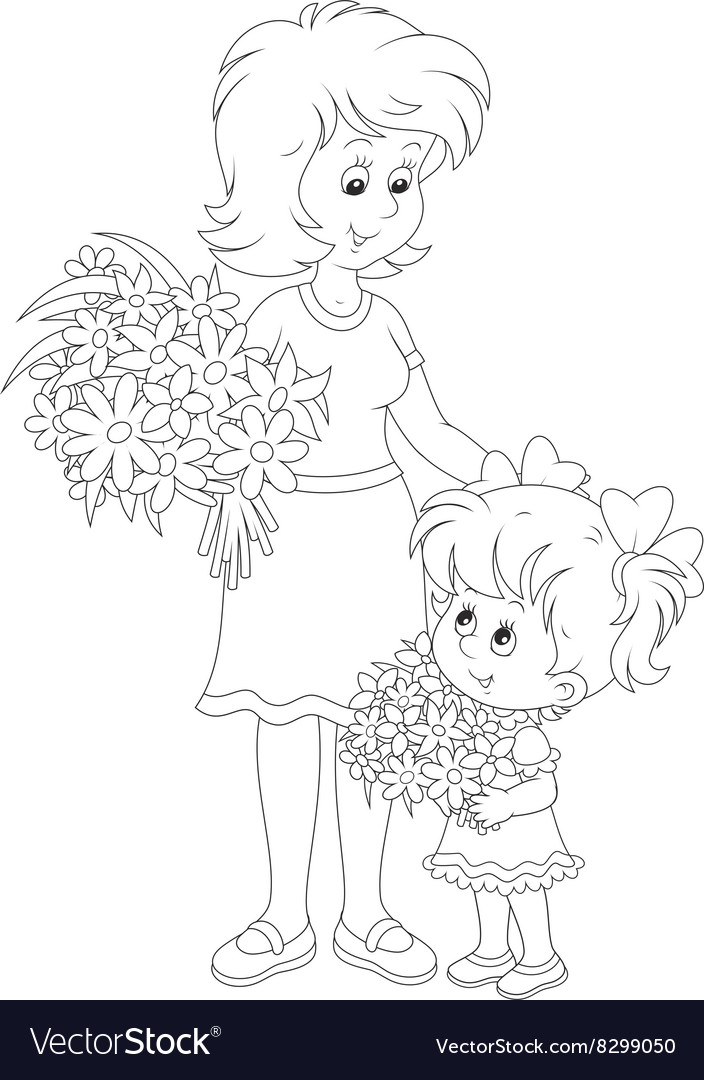 Mom and her daughter with flowers