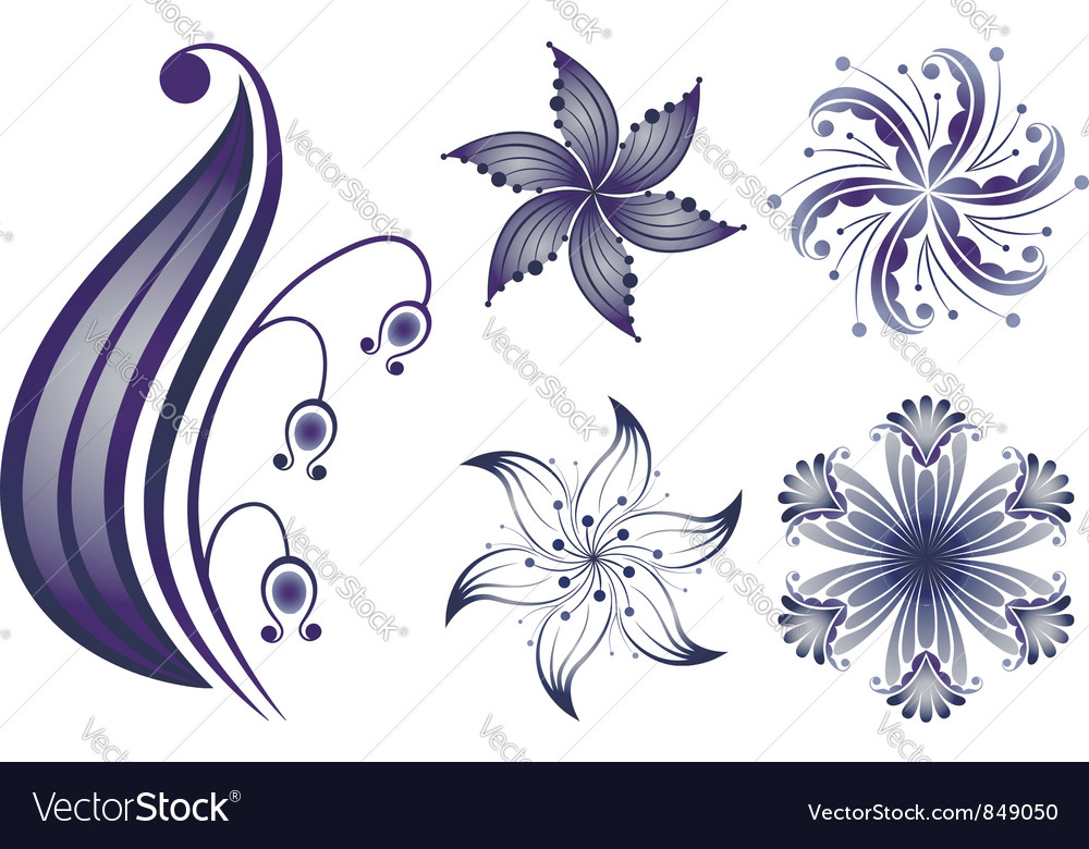Navy flowers vector image
