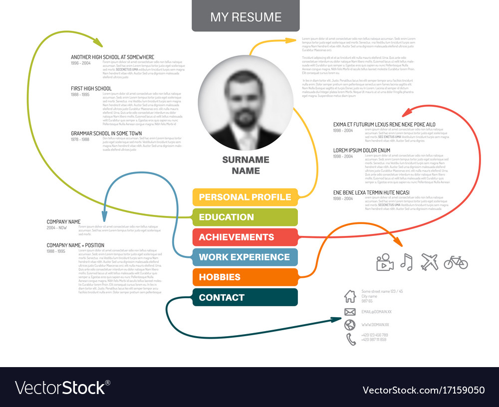 original minimalist cv resume template royalty free vector