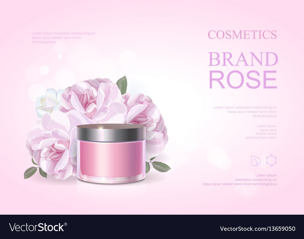 Pink beauty cosmetic product poster rose cream