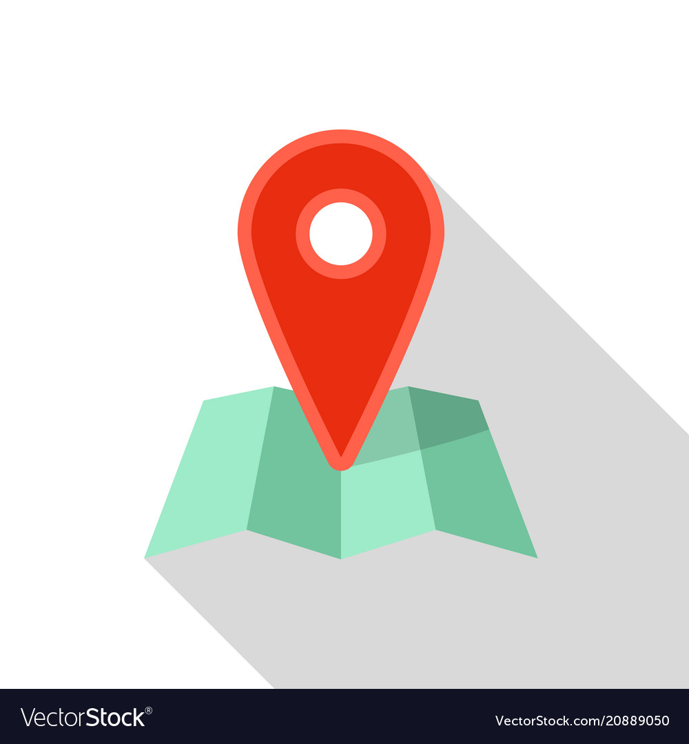 Red pin map icon flat style vector image