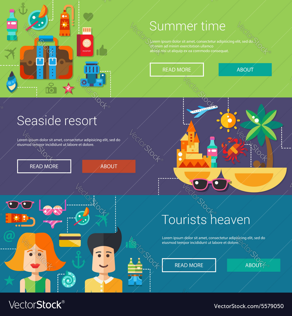 Set of flat design flyers headers with summer