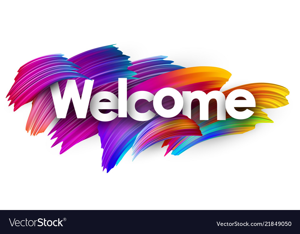 Welcome paper poster with colorful brush strokes