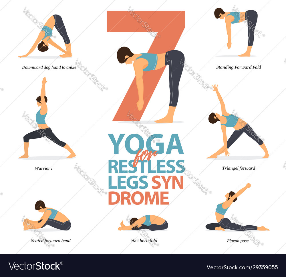 50 yoga poses for restless legs syndrome Royalty Free Vector