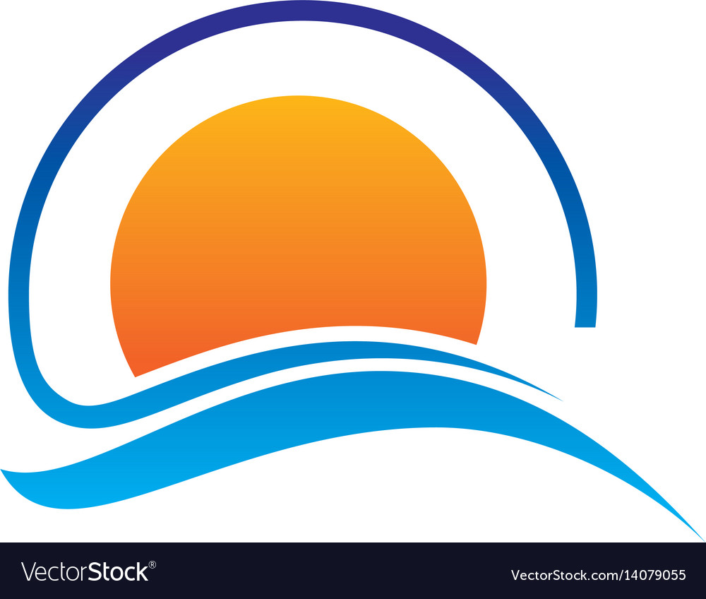 Abstract sunset logo design vector image