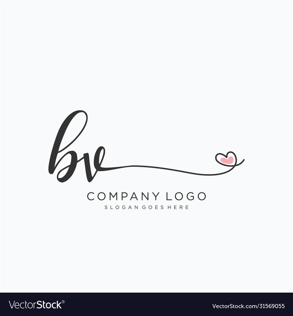 Bv initial handwriting logo design