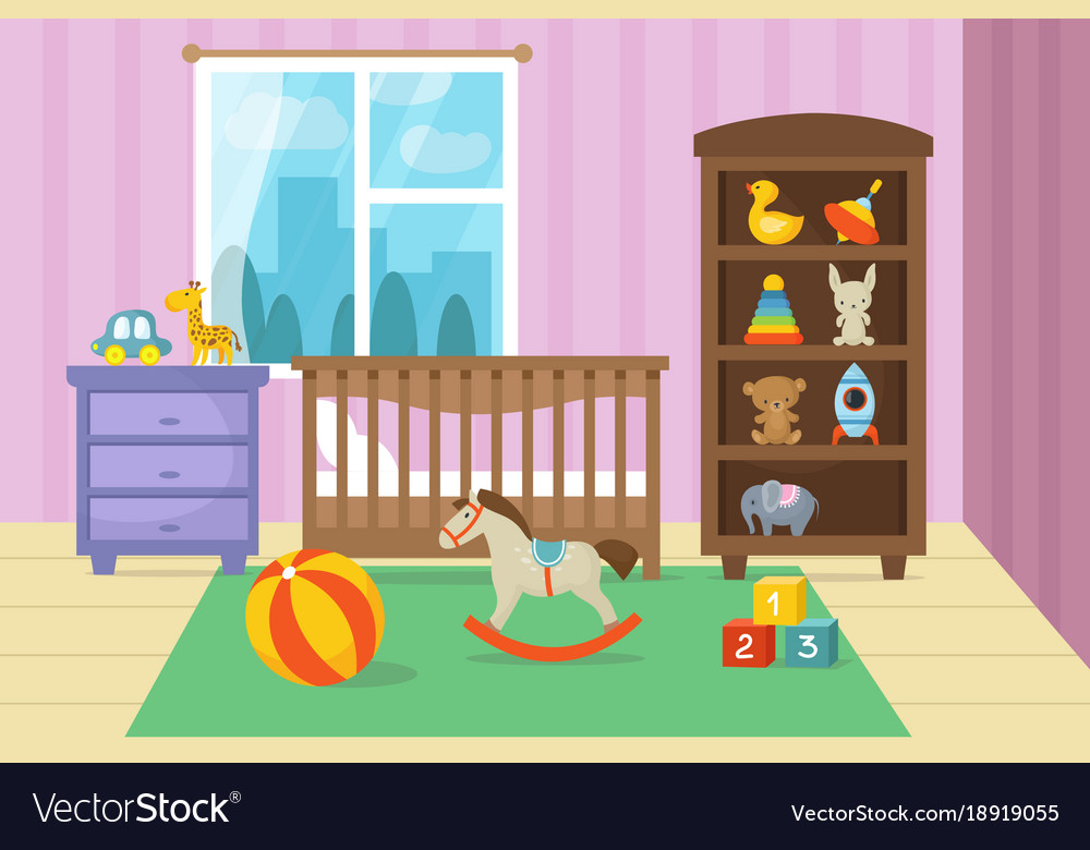 Cartoon Childrens Room Interior With Kid Toys Vector Image Savage Boy Draw Cartoons