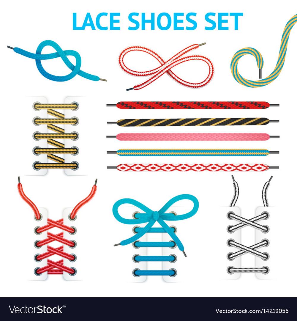 Colorful shoelace icon set