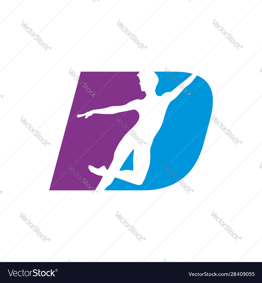Letter d shape dancing silhouette graphic