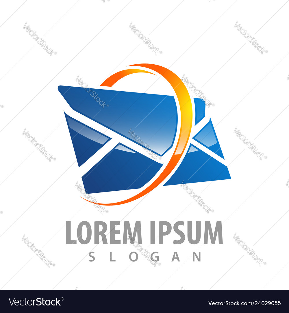Logo concept design 3d ring envelope symbol