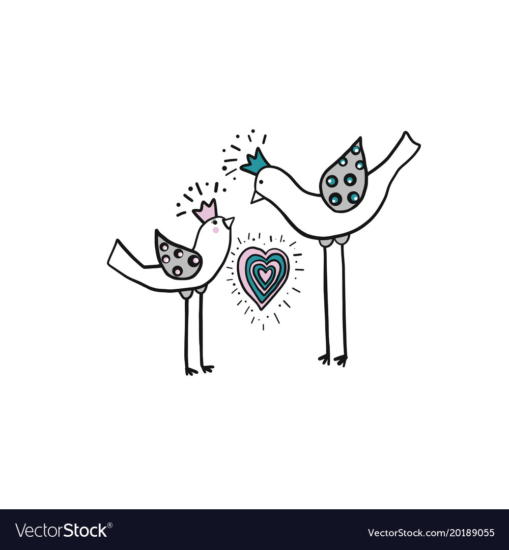 Minimalistic Simple Drawing Of Two Love Birds With