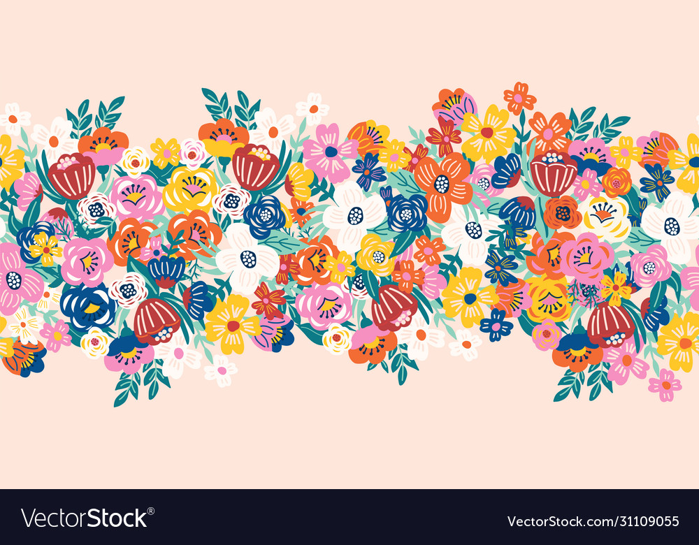 Seamless border with a lot flowers