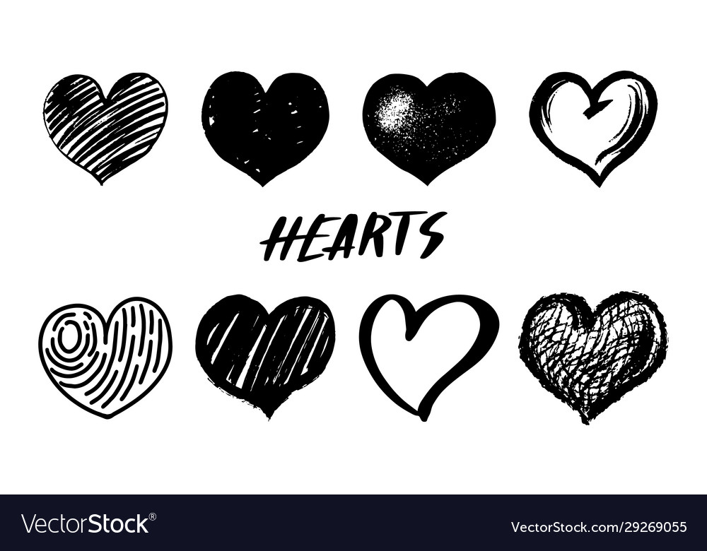 Set hearts hand drawn isolated sketch on white