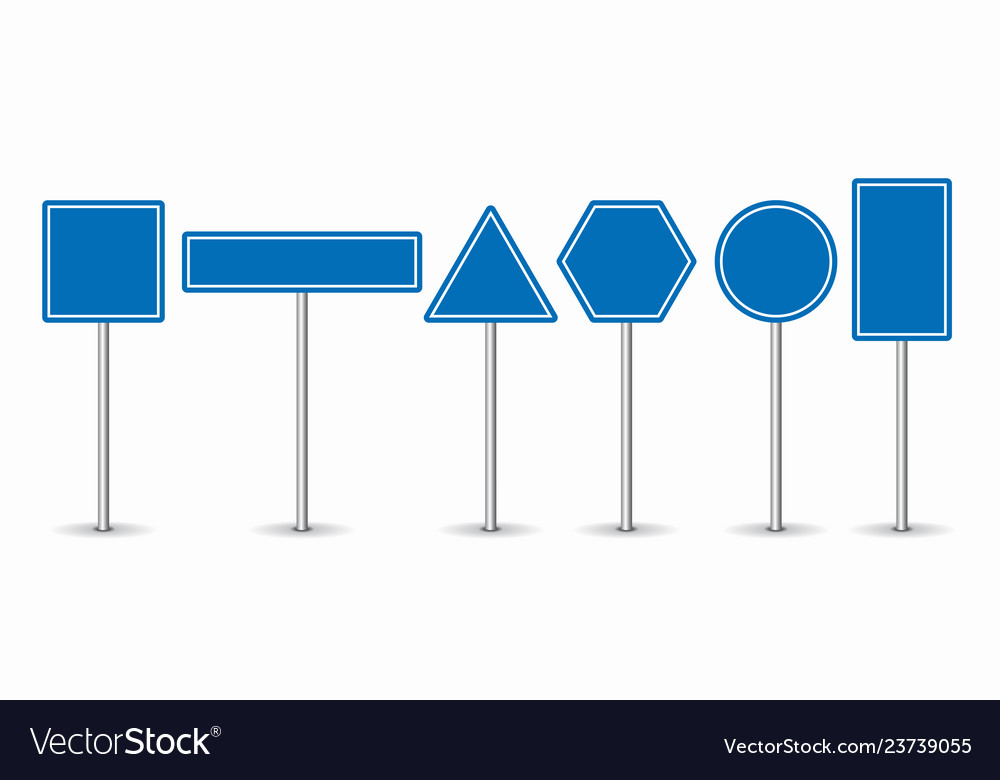 Set of blue road signs on white background