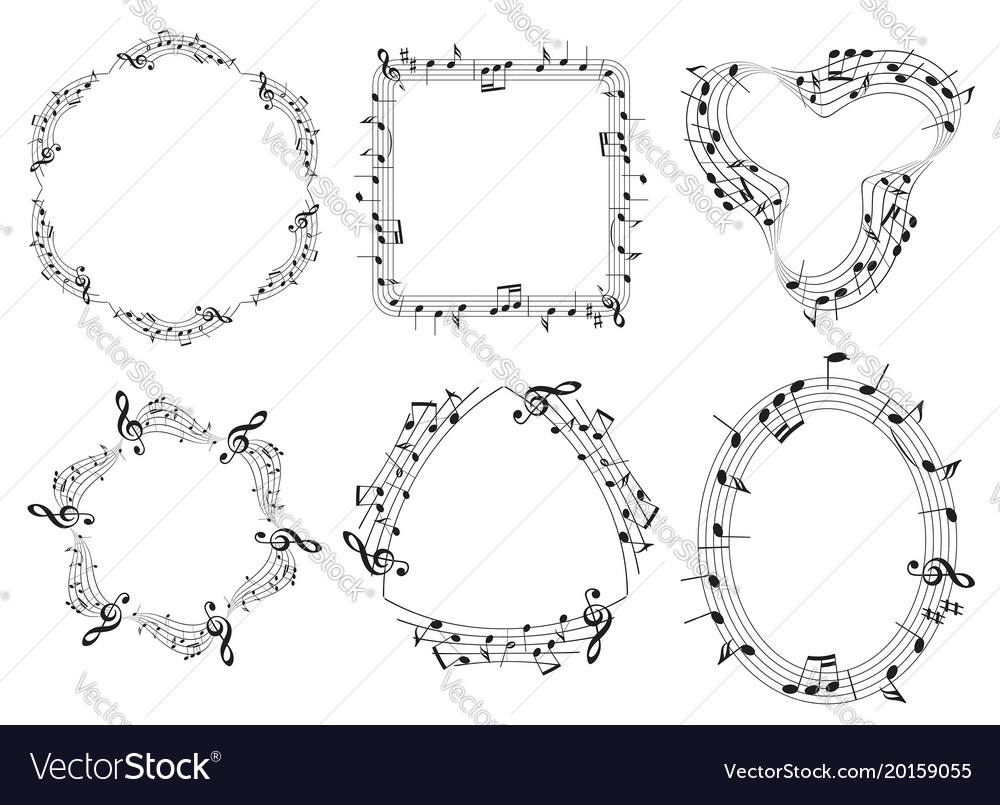 Set of musical frames with music notes Royalty Free Vector