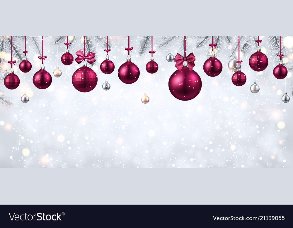 shiny banner with pink christmas balls royalty free vector. Black Bedroom Furniture Sets. Home Design Ideas