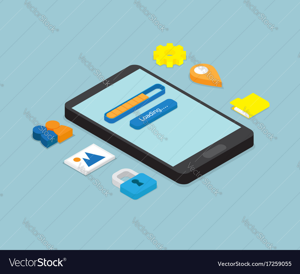 Smartphone loading application isometric