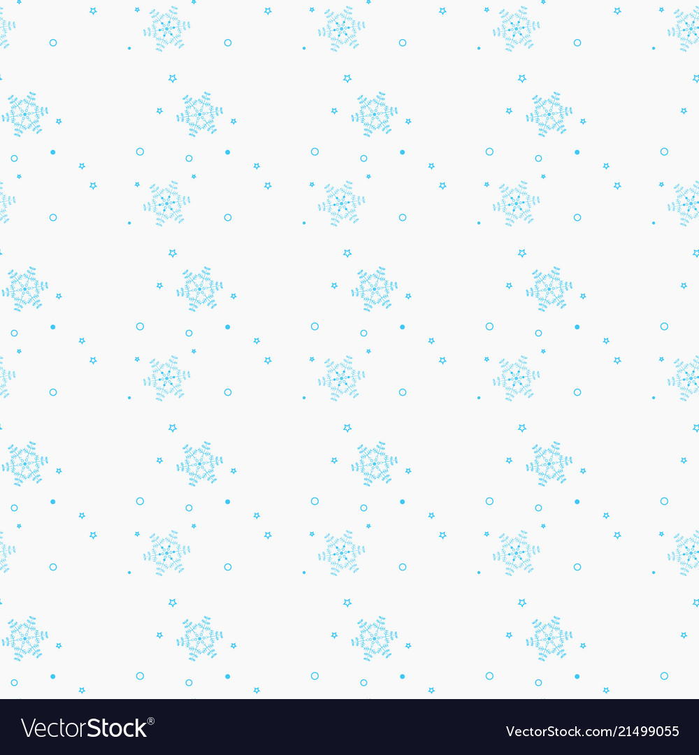 Snowflake simple seamless pattern blue snow on