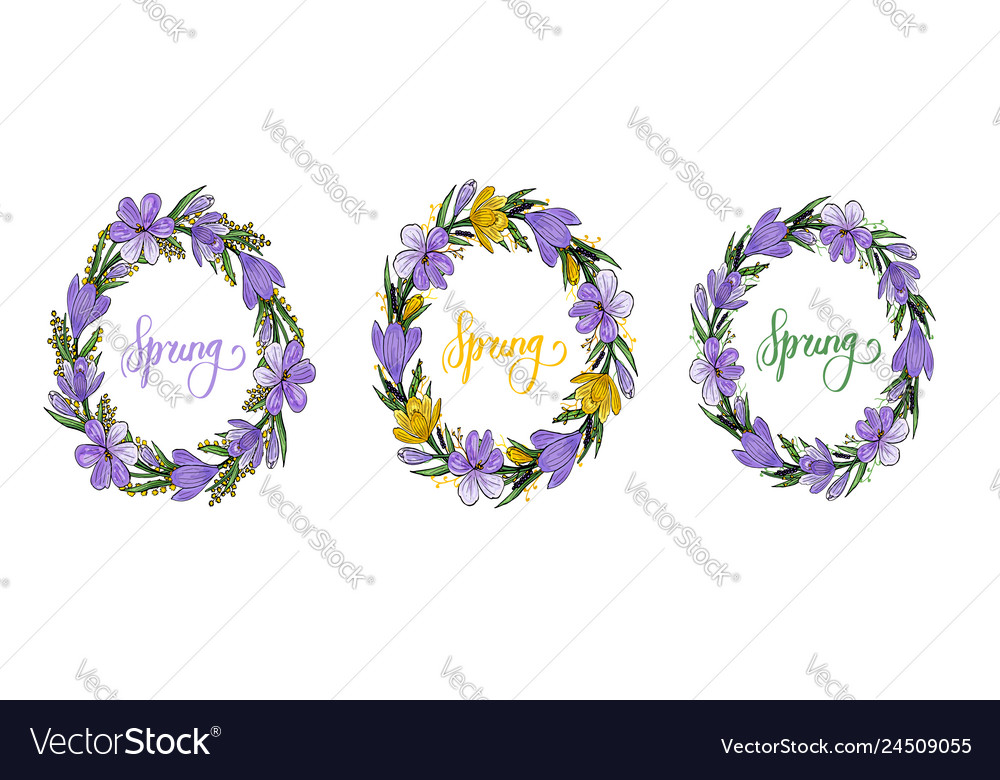 Spring wreath with crocusesmimosa and lettering