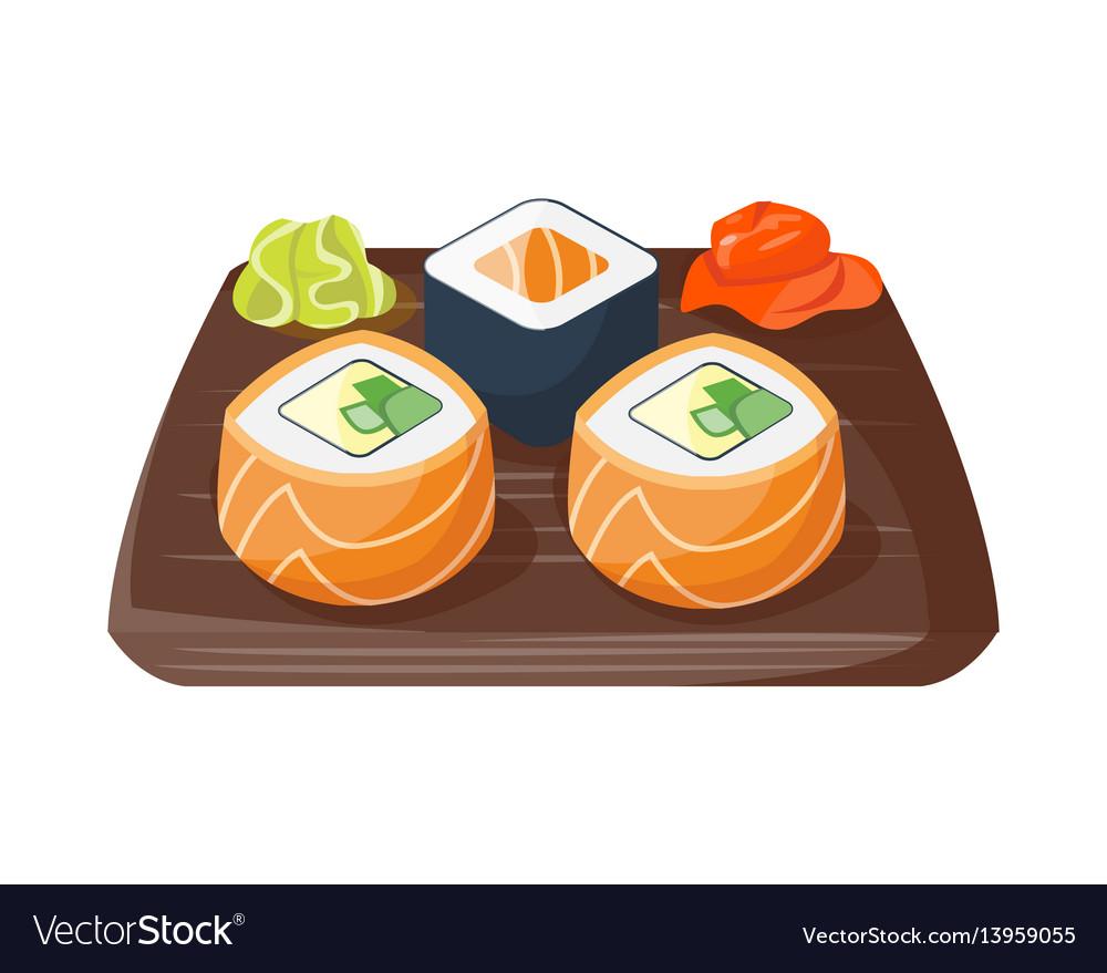 Sushi japanese cuisine traditional food flat