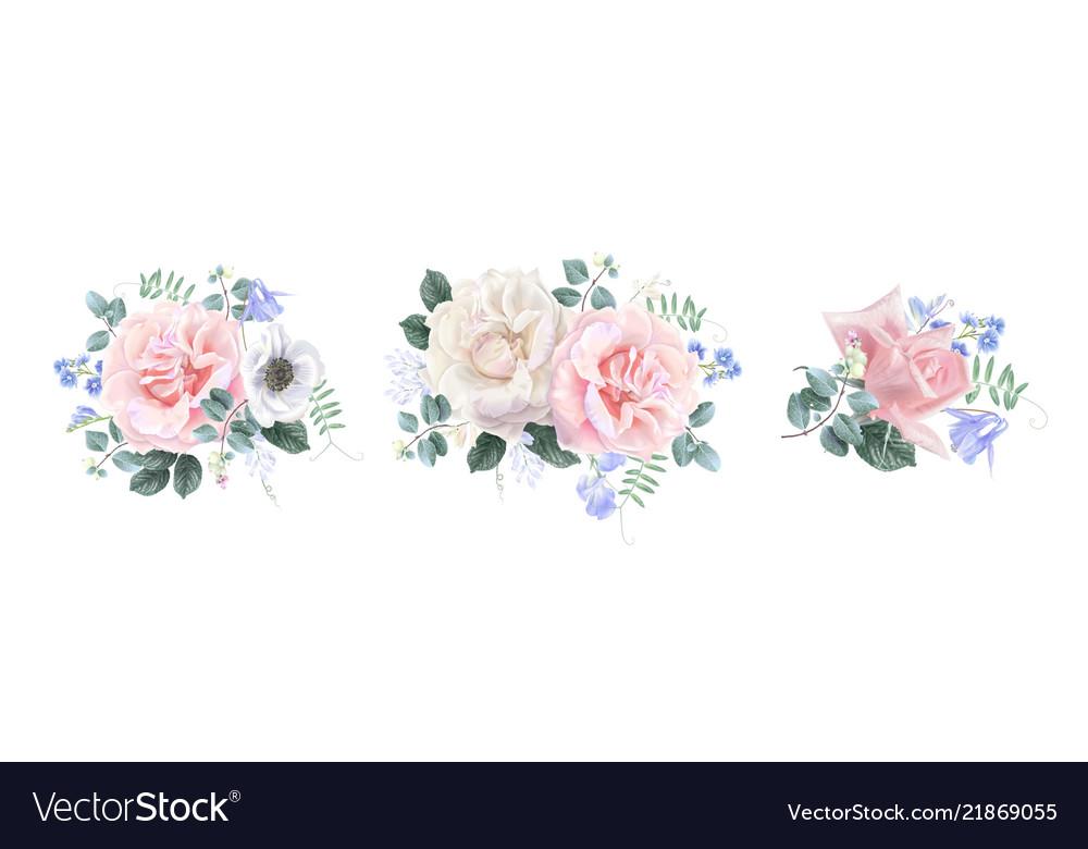 Vintage floral banner set with garden rose