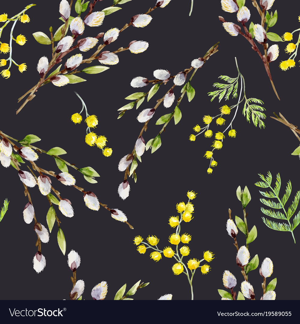 Watercolor willow tree pattern vector image