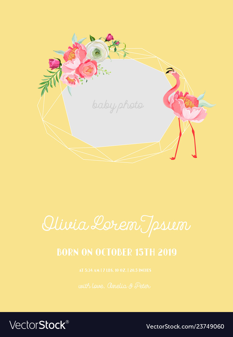 Baby arrival announcement flamingo photo frame