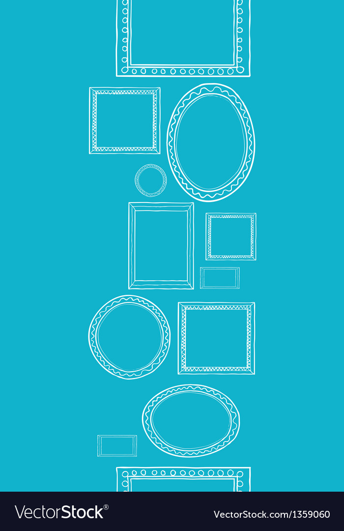 Blue blank picture frames vertical seamless