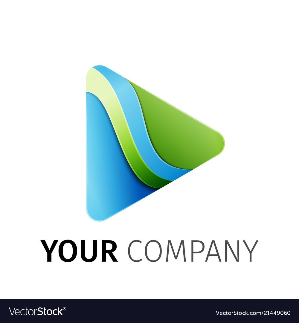 Blue green triangle logo design ribbon