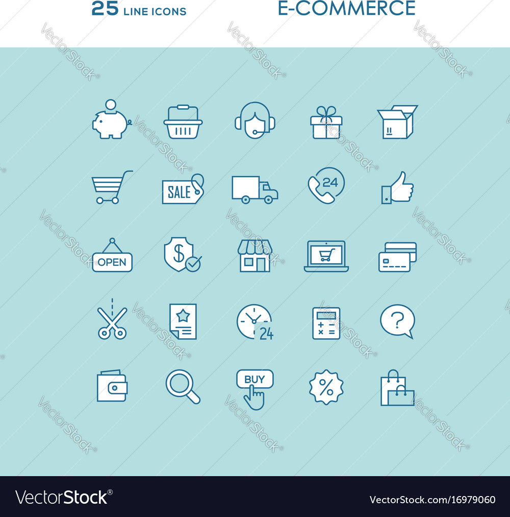 Blue online shopping line icons set