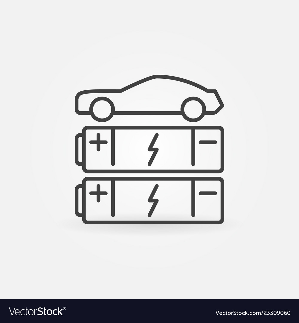 Car with batteries line icon ev concept vector