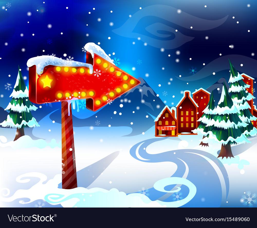 Cartoon colorful winter landscape template vector image