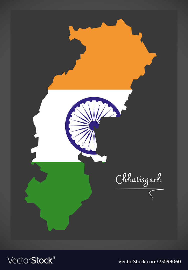Chhatisgarh map with indian national flag