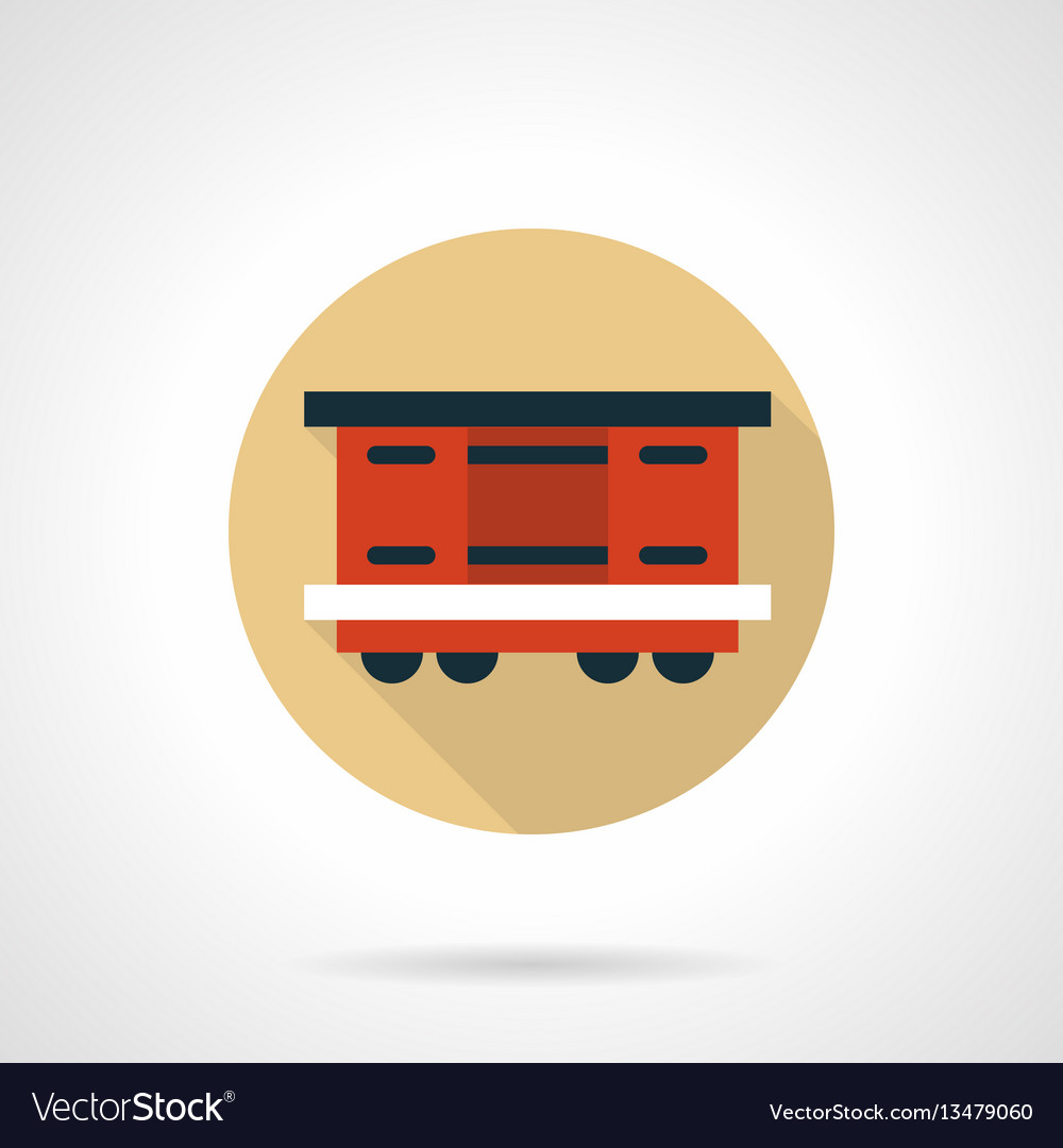 Covered wagon beige round icon